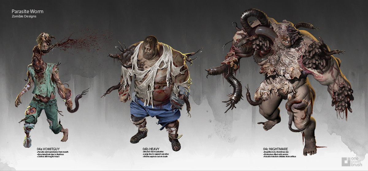 Zombie Designs, Zombies, Deadline, Shaddy Safadi, Shaddy, One Pixel Brush, Concept Art, Character concept